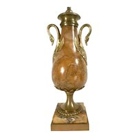 Antique French Louis XVI Style Sienna Marble and Ormolu Urn
