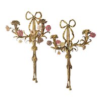 Pair of French Louis XV Style Ormolu Twin Light  Wall Sconces