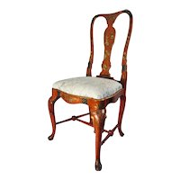 19th Century English Queen Anne Style Chinoiserie Scarlett Lacquer Side Chair.