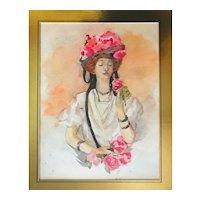 Antique Belle Époque Watercolor Portrait With Roses in Gilt Rococo Revival Frame
