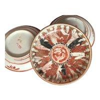 Antique Kutani Plates 18th Century Hand Painted Japanese- Rare Design- Set of 3