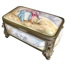 19th Century French Enamel Bronze Box Casket