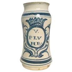 17th Century Italian Majolica Albarello Apothecary Jar