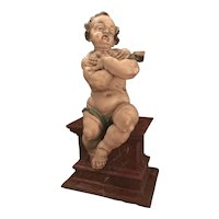 German Baroque Wood Carved Life Sized Putto, Original Polychrome #1 of 2