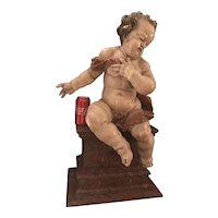 German Baroque Wood Carved Life Sized Putto, Original Polychrome #2 of 2