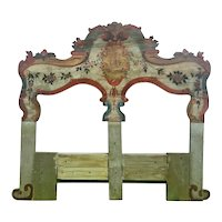 19th Century New England Hand Painted Wooden Headboard