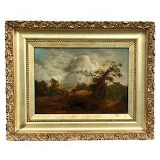 19th Century English Oil Landscape Painting on Canvas.