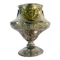 Antique Baroque Liturgical Vessel, Open Ciborium, Sanctuary Lamp, Aspersoria