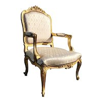 Louis XV Style Carved Giltwood Armchair Fauteuil