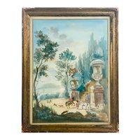 18th Century Rococo Gouache Genre Painting
