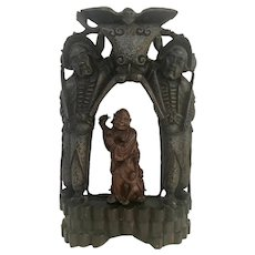 Qing Dynasty Chinese Buddhist Wood Carved Portable Shrine.