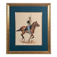 Watercolor Painting of Cavalry Soldier on Galloping Horse, Monogramed.
