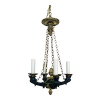 19th Century French Empire Small Patinated Bronze Chandelier