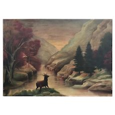 19th C. American School Primitive Landscape Painting.