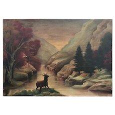 19th C. American School Primitive Landscape Painting.