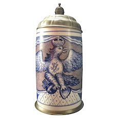 18th Century Large German Faience Tankard Pewter Mounted, 3 Liter Walzenkrug
