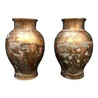 Pair of Large, Meiji Period, Japanese Satsuma Vases with Opulent Gilt