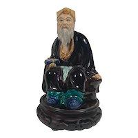 """Vintage Hand Painted Large 12"""" Chinese Mudman Figure"""