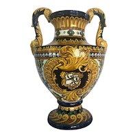 Large Vintage Mediterranean Majolica Two Handled Urn.