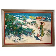 Original Nicola Simbari Oil Painting of Figure in Mediterranean Landscape.