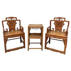 3-Piece Set of Qing Dynasty Armchairs and Table, Early 19th Century
