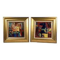 Vintage Pair Oil Paintings, Mid-Century Modern Expressionist Surrealist