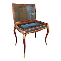 19th Century Louis XV Style Curio Display Table, Mahogany with Bronze Mounts