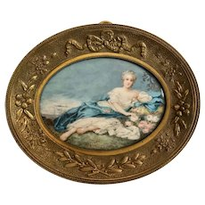 18th Century French Miniature Genre Painting in Ormolu Frame.