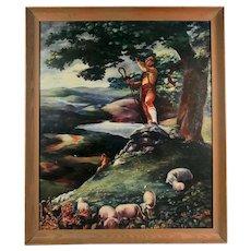 Original Bavarian Tyrolian Folk Art Painting, Signed and Dated