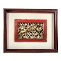 19th Century Chinese Gilt Wood Carving, Framed.