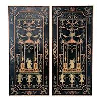 Pair 20th Century Large Venetian Renaissance Revival Wood Panels.