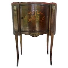 19th Century Louis XV Style Marquetry Ormolu Side Table Bedside Stand Nightstand
