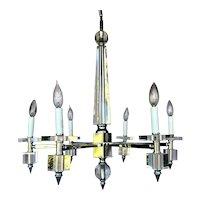Italian Mid-Century Modern Chrome and Lucite Six-Light Chandelier