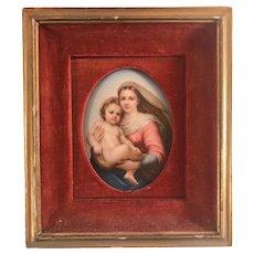 German Porcelain Miniature Portrait KPM Style Madonna And Child After Raphael