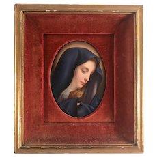 German Porcelain Plaque Miniature Portrait KPM Style Madonna After Raphael