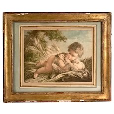 SOLD -18th Century Hand Colored Engraving After F. Boucher ca.1760