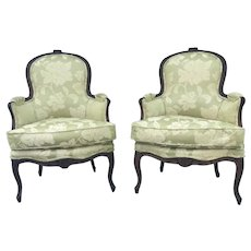 Pair of Period French Louis XV Carved Bergeres Cabriolet, Paris, Circa 1760.