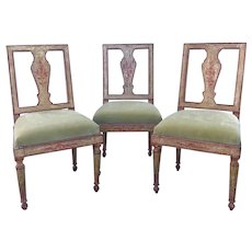 Suite Of Three Italian Neoclassical Polychrome Painted Side Chairs, Circa 1780