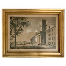 19th Century Amherst College Engraving in American Classic Lemon Gold Frame