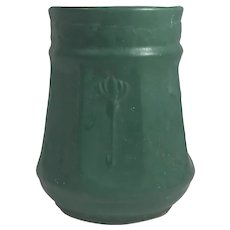Grueby Style Arts and Crafts Green Pottery Vase.