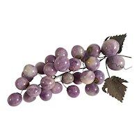 Large Vintage Amethyst Semi-Precious Graduated Stones Polished Purple Grape Cluster.