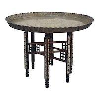 Moorish Inlaid Mother of Pearl Six Legged Brass Tray Top Folding Side Table