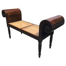 English Regency Style Mahogany Window Seat, Hall, Foyer Bench