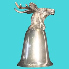 Vintage Stag Silver Plate Stirrup Cup