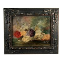 Antique Floral Still Life, Framed Oil on Wood, Signed and Dated, 1935.