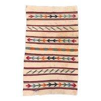 Antique Navajo Weaving Double Saddle Blanket, Circa 1920.