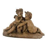 19th Century Terracotta Putti Sculpture, Albert-Ernest Carrier-Belleuse, France
