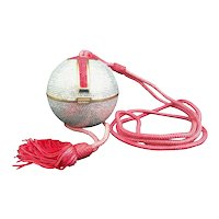 Judith Leiber Silver, Red, Swarovski Crystal Ball Minaudiere, Evening Bag