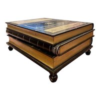 Vintage Maitland Smith Stacked Book Leather Bound 3 Drawer Cocktail Coffee Table