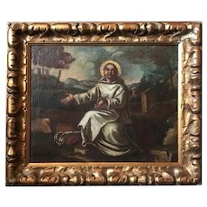 17th Century Old Master Oil Painting Saint Bernard of Clairvaux, Spanish School
